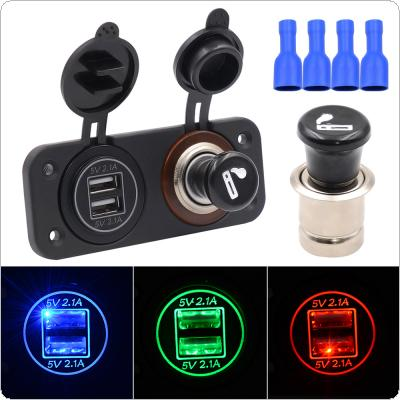 5V 4.2A Center Console Dual USB Aperture Vehicle Mobile Phone Chargers with Metal Cigar Lighter for Cars / Yachts
