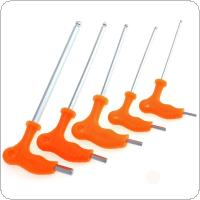 5pcs 3-8mm T-type Crutch Allen Wrench with Ball Head and Plastic Handle for Home / Office / Site
