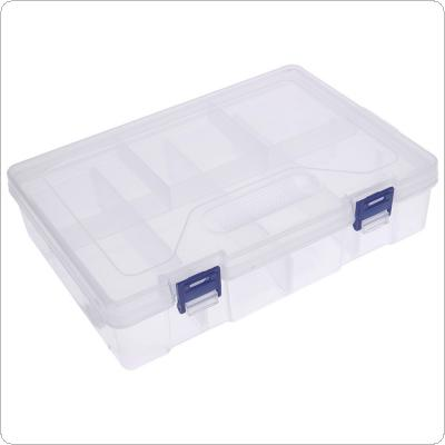Double Layer 8-Cell Transparent Removable Plastic Storage Box with Blue Buckle Triangular anti-slip texture and Components for Hardware/Jewelry/Earring/Tools/F