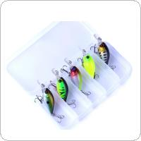 5pcs 4.4g Fishing Lure Kit Minnow Floating Lure Crankbait Bait Pesca Jig Fishing Hook Set With Fishing Tackle Box