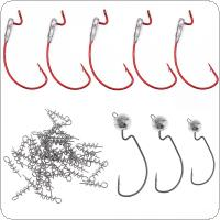58pcs Fishing Hooks Swivel Combo Full Kits Stainless Steel Lead Jig Head Crank Fishing Hook and Pin Fishing Tackle