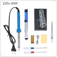 9pcs 220V 40W Electric Iron Soldering Kit with Adjustable Temperature for Welding