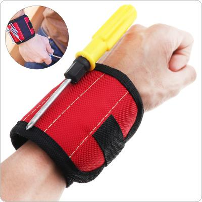 Portable Strong Magnetic Wristband Pocket Tool Bag Holding Screws Nails Drill Bits with 2 Strong Magnets for Repair Tools