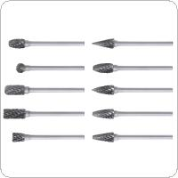 10pcs 2.35 x 6mm Carbide Rotary File Tungsten with Plastic Box for Polished / Carved / Polishing