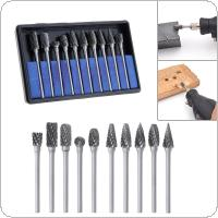 10pcs 3 x 6mm Carbide Rotary File Tungsten with Plastic Box for Polished / Carved / Polishing