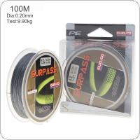 100m Gray Super Strong Fishing Line 4 Strands Weaves PE Braided Fishing Rope Multifilament