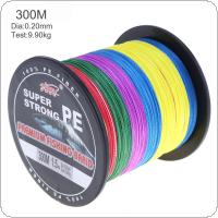 300m Multicolor Dyneema Super Strong Fishing Line 4 Strands Weaves PE Braided Fishing Rope Multifilament
