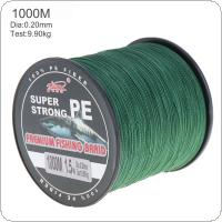 1000m Green Super Strong Fishing Line 4 Strands Weaves PE Braided Fishing Rope Multifilament