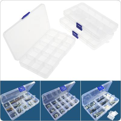 3pcs 15 Grid  Adjustable Transparent Plastic Jewelry Ring Earrings Box Case Detachable Hardware Tool Box Assortment Box with Lid