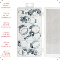 26pcs Mini Stainless Steel Hose Clamps Pipe Clips with Plastic Box for Water Pipe / Gas Pipe / Cooker Hood