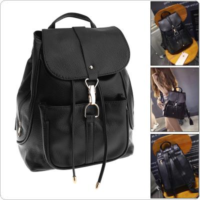 Fashion Women's PU Leather Backpack with Double Shoulders Strap Bag for Shopping Traval