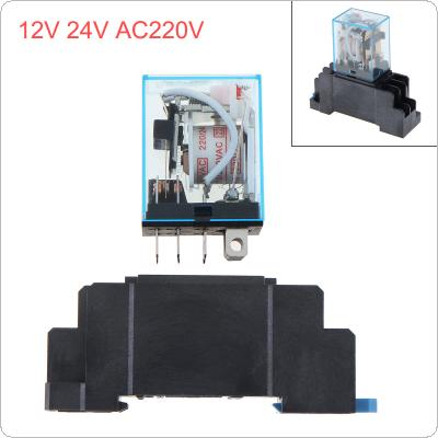 1Set AC220V Coil Power Relay DPDT LY2NJ LY2N-J With Socket Base for Car