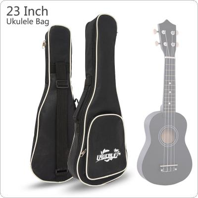 23 Inch Black Portable Ukulele Bag Soft Case Gig Cotton Waterproof Bag Single Shoulder with Pattern