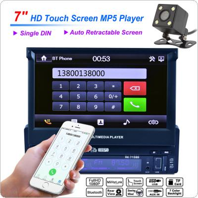 Universal 7 Inch 1 Din Bluetooth HD Touch Auto Retractable Screen Car Video Stereo Player Support Mirror Link / Aux In with Rear View Camera