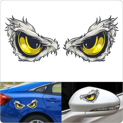 2pcs 3D 10 x 8CM Reflective Material  Eye Pattern Creative Funny Stereoscopic Car Sticker Accessories
