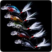 5pcs 3.6cm 3.5g Artificial Fishing Lures Crank Baits Mini Crankbait With 3D Eyes and Feather