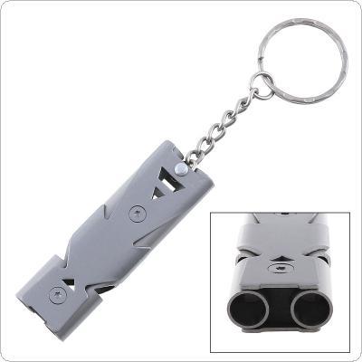 150db Stainless Steel Emergency Survival Whistle Hiking Camping Outdoor Sports Tools with Keychain and Double Channel for Outdoor Tools