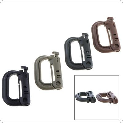 4pcs Plasctic Shackle Carabiner D-ring Clip Molle Webbing Backpack Buckle Snap Lock Grimlock Camp for Mountain climb Outdoor