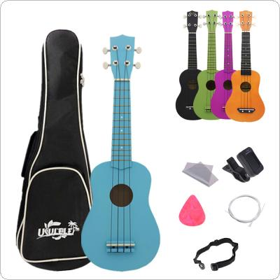 21 Inch Basswood Pure Color Professional Ukulele 4 Strings + Bag Picks Pickup Strings Musical Instrument