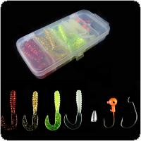 30pcs Fishing Soft Lures Hook Combo Lead Hooks Set Box Classic Flexible Swimbait Artificial Silicone Bait Fishing Tackle