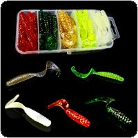 50pcs Fishing Soft Lures Hook Combo Lead Hooks Set Box Classic Flexible Swimbait Artificial Silicone Bait Fishing Tackle