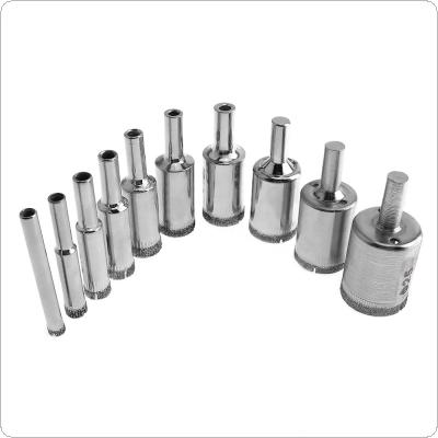10pcs Diamond Coated Core Hole Saw Drill Bit Set Tools Glass Drill Hole Opener for Tiles Glass Ceramic