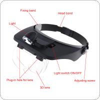7X Headband Type Magnifying Glass with LED Light and 4 Magnifying Lens for Jewel Repair