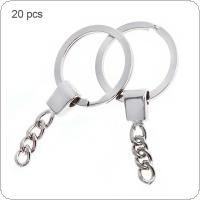 20pcs 30mm Flat Cirle with 4 Knot Chain and Bronze Plated Key Ring Metal Key Holder Split Rings