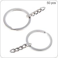 50pcs 30mm Flat Circle with 4 Knot Chain Key Ring Metal Key Holder Split Rings