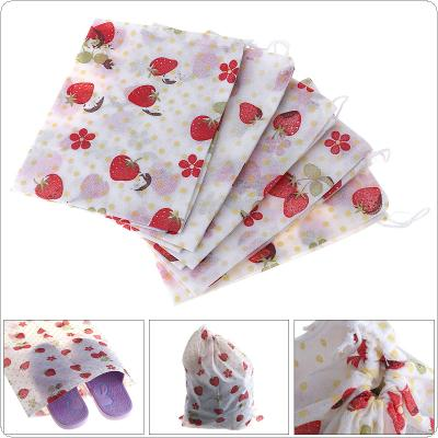 5pcs cute strawberry pattern portable storage bag dust bag elastic rope shoes / children's toys / groceries