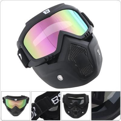 Detachable Motorcycle Goggles Glasses Mask Visor Ski Snowboard support Open Face Motorcycle Half Helmet for Motorcycle
