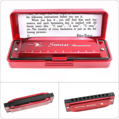 10 Holes Red Harmonica Diatonic Blues Harp Mouth Organ Reed Musical Instrument Stainless Steel for Beginner