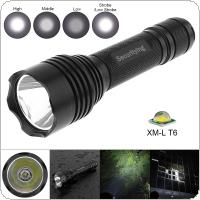 SecurityIng Waterproof XM-L T6 LED Flashlight Torch Lamp with 5 Switch Modes and Handles Rope Fit for Household / Outdoor Activities / Hiking