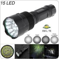 SecurityIng Super Bright 15x XM-L T6 LED 5000 Lumens Waterproof Flashlight Torch with 5 Modes Light Support 18650 Rechargeable Battery for Household / Outdoor