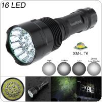 SecurityIng Super Bright 16x XM-L T6 LED 5400 Lumens Waterproof Flashlight Torch with 5 Modes Light Support 18650 Rechargeable Battery for Household / Outdoor