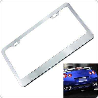 Universal Waterproof Car License Plate Box with Mirror Polished Chrome and 2 License Fasteners for Most  Cars