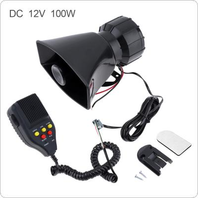 100W 12V 7 Sound Car Electronic Warning Siren Motorcycle Alarm Firemen Ambulance Loudspeaker support MIC and Record