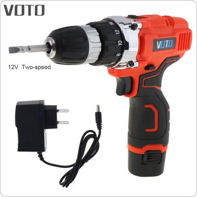 VOTO AC 100 - 240V Cordless 12V Electric Screwdriver with Rotation Adjustment Switch and Two-speed Adjustment Button for Handling Screws / Punching