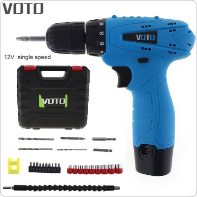 VOTO AC 100 - 240V Cordless 12V Electric Screwdriver with Rotation Adjustment Switch and Plastic Box 26pcs Accessories Set  for Handling Screws / Punching