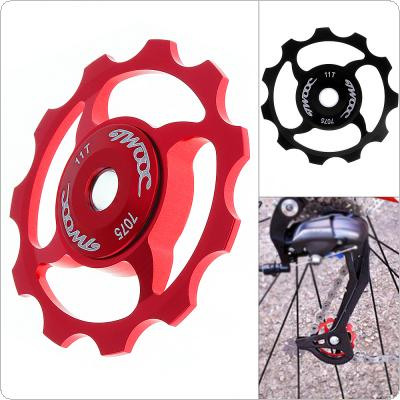 Universal 4 Hole CNC Aluminum Alloy 11T Bicycle Rear Derailleur Pulley Guide Wheel Cycling Ceramics Bearing Idler Pulley for MTB / Road Bike