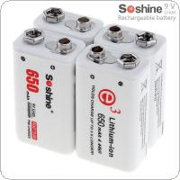 Soshine 4pcs 9V 6F22 650mAh Li-ion Rechargeable Battery with Portable Battery Box for Multimeter / Wireless Microphone / Alarm