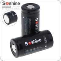 Soshine 2pcs High Capacity 6500mAh 3.7V 32650 Li-ion Rechargeable Battery with 18A Discharge Current for LED Flashlights / Headlamps