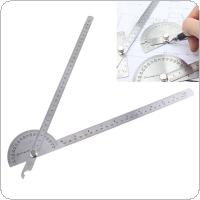 180 Degree 250 x 300mm Stainless Steel Adjustable Double Arm Angle Ruler with Round Head Rotary Protractor and Adjustable Nut for Industrial Measurement