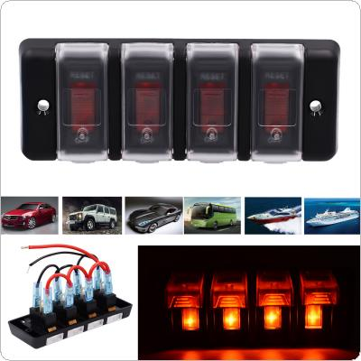 12V IP66 16A Four Bit Power Overload Protector Off Switch with Red Light and Adhesive Sticker for Automobile / RV / Yacht