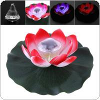 Waterproof Solar Powered Multi-colored LED Flower Lamp with Waterproof Grommet and Crystal Pendant Outdoor Floating Pond Night Light for Garden Pool
