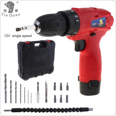 100 - 240V Cordless 12V Electric Drill / Screwdriver with Rotation Adjustment Switch and Plastic Box 15pcs Accessories Set for Handling Screws / Punching