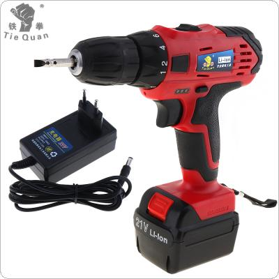 AC 110 - 220V Cordless 21V Electric Drill / Screwdriver with Lithium Battery Adjustment Switch and Two-speed Adjustment Button for Handling Screws / Punching