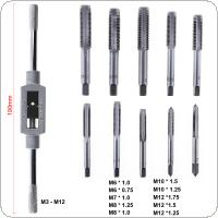 11pcs Hand Tool Tap Die Bolt Remover Screw Thread Metric Plugs Set with Holder Frame Tool and M6-M12 Straight Flute Drill Set for Woodworking
