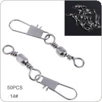 50pcs 14# Mixture Stainless Steel Fishing Swivel Snap Ball Bearing Lock Rolling Swivel Connector