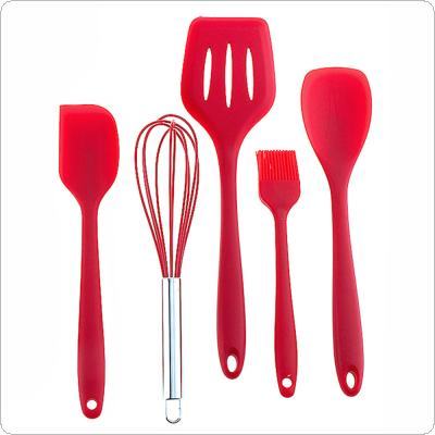 5pcs/set Silicone Cooking Tools Flexible Silicone Kitchenware Non-Stick Baking Tool with Round Handle and Eggbeater for Kitchen Restaurant